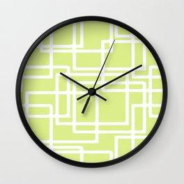 Retro Modern White Rectangles On Pale Grape Wall Clock