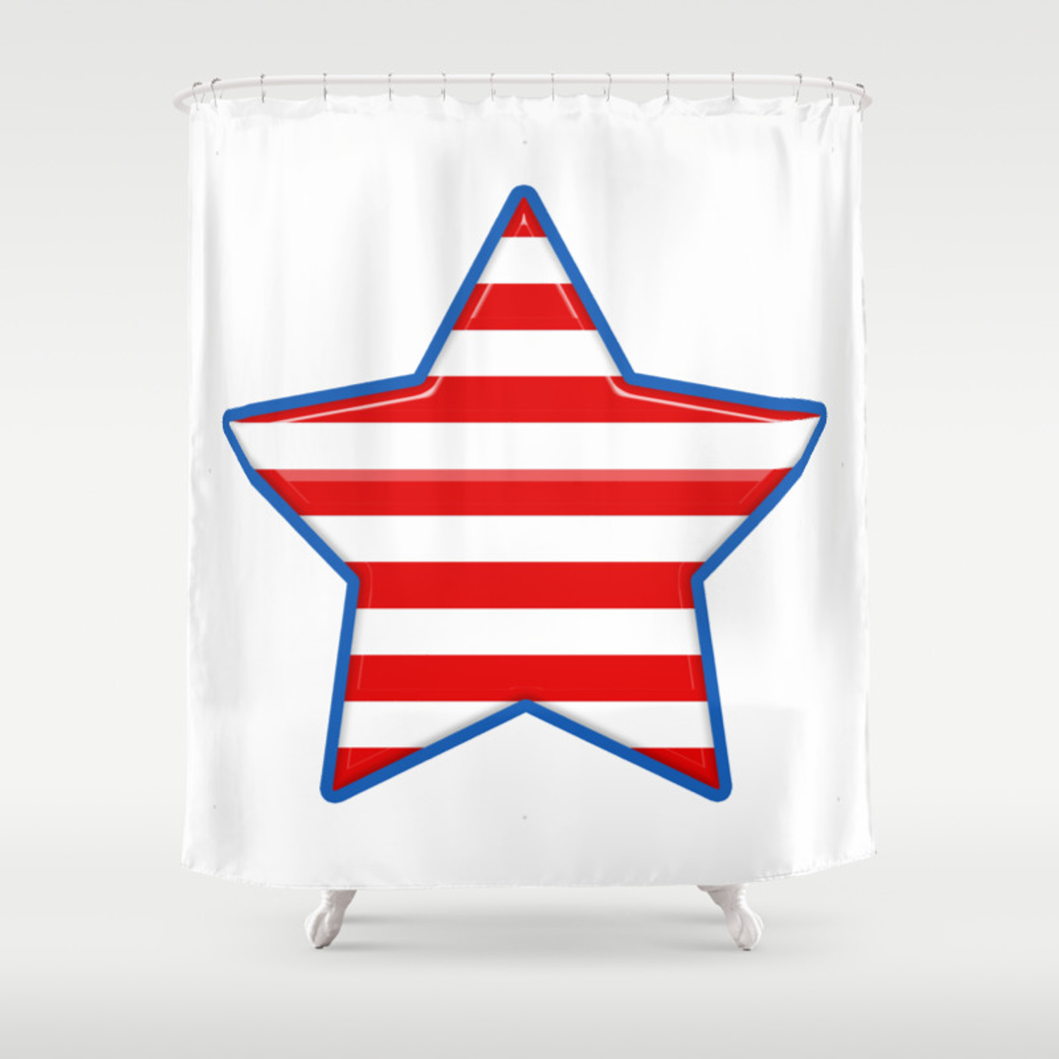 Patriotic Star Blue Border Red And White Stripes Shower Curtain