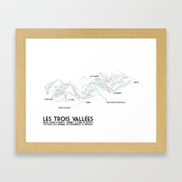 Les Trois Vallees, Savoie, France - NA Edition (Labeled) - Minimalist Trail Art Framed Art Print
