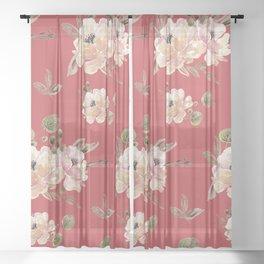 Vintage pattern red Sheer Curtain