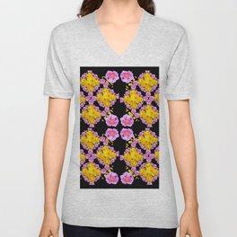 Black Roce & Yellow Color Pattern Floral Unisex V-Neck