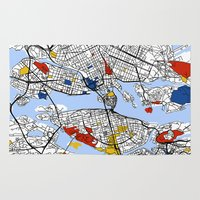 stockholm Area & Throw Rugs featuring Stockholm mondrian by Mondrian Maps