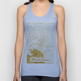 Melbourne Map Gold Unisex Tank Top