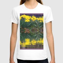 PUCE & YELLOW DAFFODILS WATER REFLECTION PATTERN T-shirt