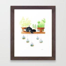 Cat sleeping Framed Art Print