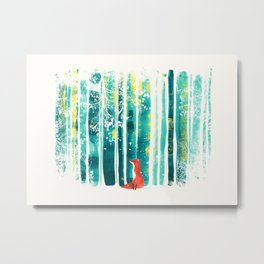 Fox in quiet forest Metal Print