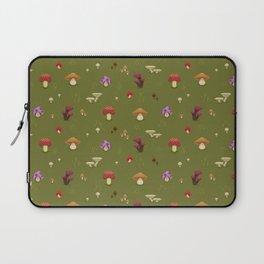 Pixel Mushrooms on Green Laptop Sleeve