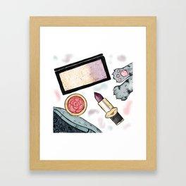 Pretty Makeup Essentials Framed Art Print