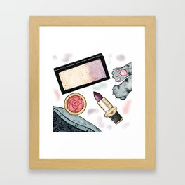 Pretty Makeup Essentials Framed Art Print