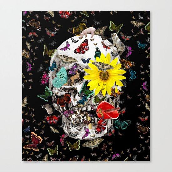 Skull Flowers Animals on Black | Butterflies Canvas Print