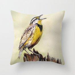 Western Meadowlark Watercolor Print Throw Pillow