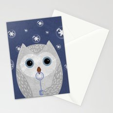 Christmas Owl Blue Marble Stationery Cards