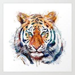 Tiger Head watercolor Art Print