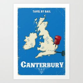 canterbury Vintage rail travel poster Art Print