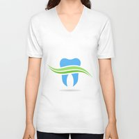 tooth V-neck T-shirts featuring Tooth by aleksander1
