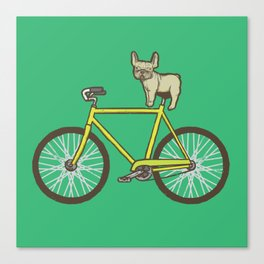 Frenchie on a Fixie Canvas Print