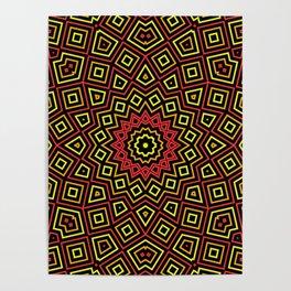 Red Orange and Yellow Kaleidoscope Poster