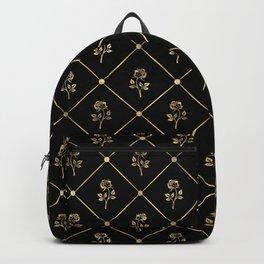 Black & Gold Rose Princess Pattern Backpack