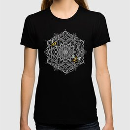 Bee Dance Mandala A - White T-shirt