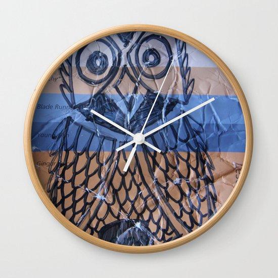 orange owl Wall Clock