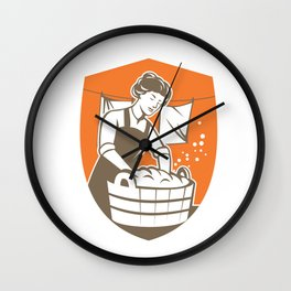 Housewife Washing Laundry Vintage Retro Wall Clock