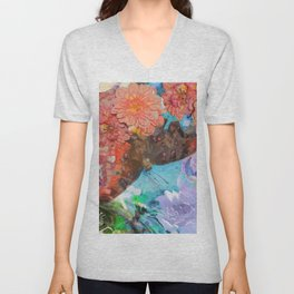 Butterfly among flowers Unisex V-Neck