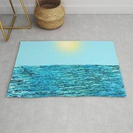 Blue Ocean with Sky and Sun - Digital Painting in Vintage Look Rug