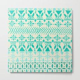 Norwegian Pattern – Aqua on White Metal Print