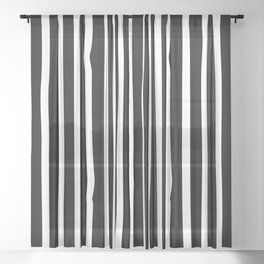 White drawing stripes - black and white  striped pattern Sheer Curtain