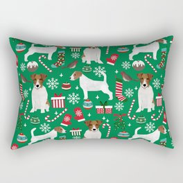 Jack Russell Terrier christmas festive holiday red and green dog lover gifts Rectangular Pillow