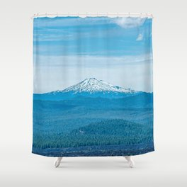 Above Tree Line // Beautiful Long Range Landscape Photograph of the Dense Forest and Snow Cap Peak Shower Curtain