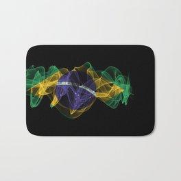 Brazil Smoke Flag on Black Background, Brazil flag Bath Mat