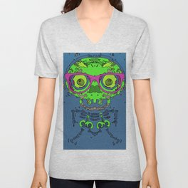 green funny skull art portrait with pink glasses and blue background Unisex V-Neck
