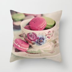 Macarons & Tea Throw Pillow