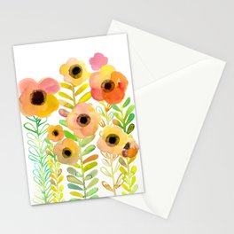 Peony field Stationery Cards