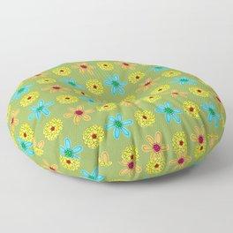 Groovy Flower Power 70's Pop Art Floor Pillow