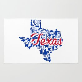 SMU Texas Landmark State - Red and Blue Southern Methodist University Theme Rug