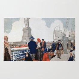 Vintage Immigrants & Statue of Liberty Illustration (1917) Rug