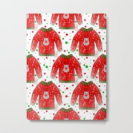 Ugly Christmas Sweater Pattern Metal Print