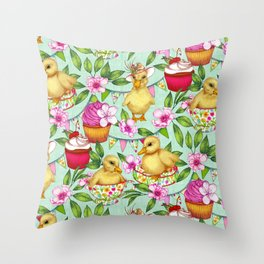 Ducklings' Spring Picnic Throw Pillow