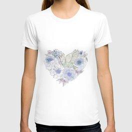Loose bird of paradise, blue paradisebirds, floral  graphicdesign, birds, home decor T-shirt