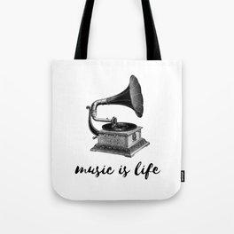 music is life - vintage gramaphone Tote Bag