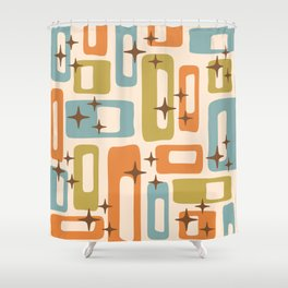 Retro Mid Century Modern Abstract Pattern 922 Orange Olive Blue Shower Curtain