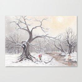 Gnome and fox Canvas Print