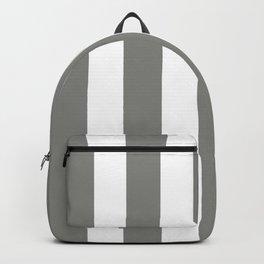 Battleship grey - solid color - white vertical lines pattern Backpack