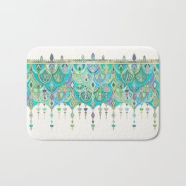 Art Deco Double Drop in Jade and Aquamarine on Cream Bath Mat