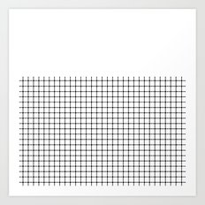 Dotted Grid Black on White Boarder Art Print