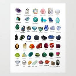 crystals gemstones identification Kunstdrucke