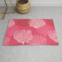 Fan Coral Print, Shades of Coral Pink Rug