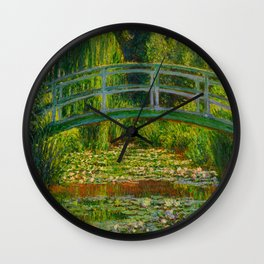 Claude Monet Impressionist Landscape Oil Painting-The Japanese Footbridge and the Water Lily Pool, Wall Clock